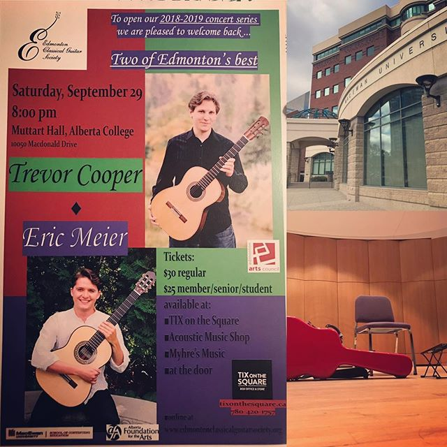 This Saturday. 8pm @ Alberta College/MacEwan Conservatory 10050 MacDonald drive. Very excited to play a concert organized by the Edmonton Classical Guitar Society! Sharing this great occasion with Trevor(@t_coop_yeg). Tickets $30/25.  #yegmusic  #classicalguitar  #canadianmusician #canadianmusic #yegevents
