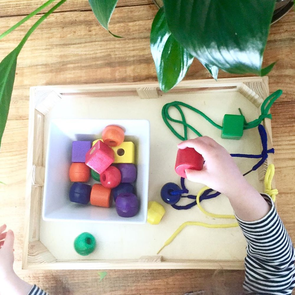 Montessori Lacing activity can improve hand eye coordination and other fine motor skills. It is the perfect activity to improve focus in toddlers.