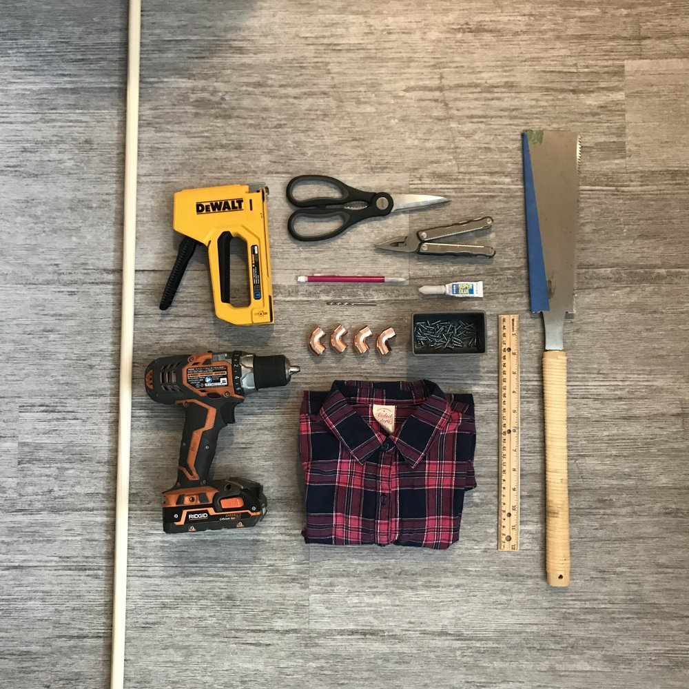 Parts and tools we used to assemble our DIY montessori dressing frames for kindergarten, toddlers, preschool and homeschool