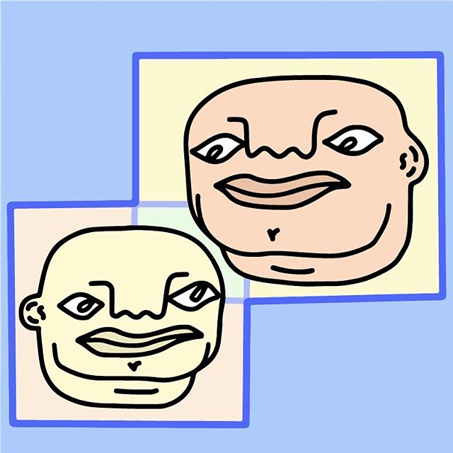 bald boy-os with big chins in blue boxes