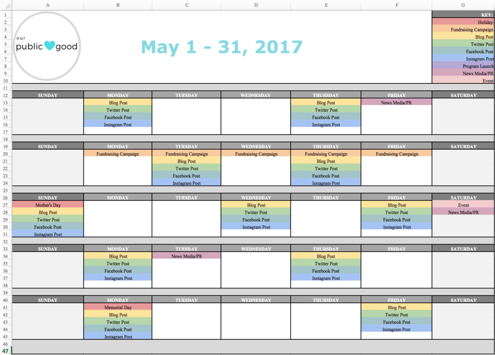Social Media Content Calendar Radiotodorock