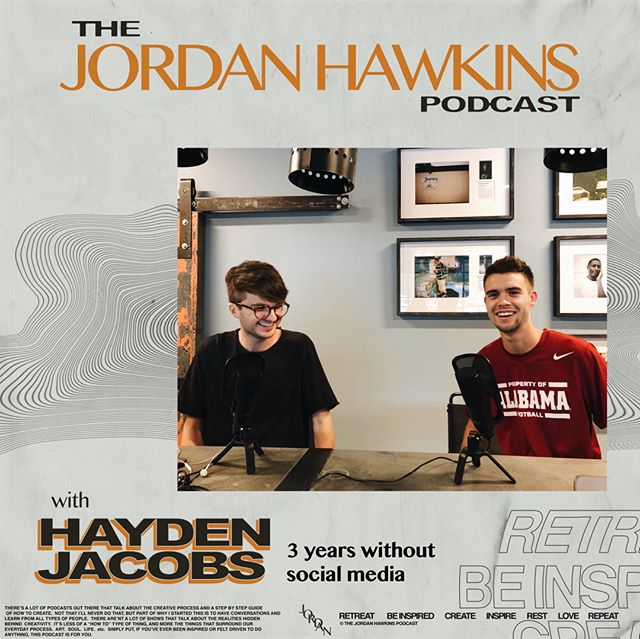 "Ep 8: Hayden Jacobs - 3 Years Without Social Media  In this episode, we sit down with Hayden Jacobs, a college student who's gone without social media for the past 3 years. He's one of my best friends and has personally challenged me to take steps back from the social world and face myself in the quiet moments of life.  We discuss what it's like to battle insecurity, live up to expectations and be intentional with people in your life.  You can listen on Apple Podcast & Spotify just search ""The Jordan Hawkins Podcast"" or follow the link in bio!  #film #filmmaking #filmmaker #video #videographer #sony #drone #commercial #commercialvideo #tourism  #charleston #charlestonsc #yeahthatgreenville #nashville #chicago #instagram #instagood #advertising #marketing #branding #sonyalpha #podcast #podcasting #california #learning #creativity #entrepreneur #business #art #atlanta"