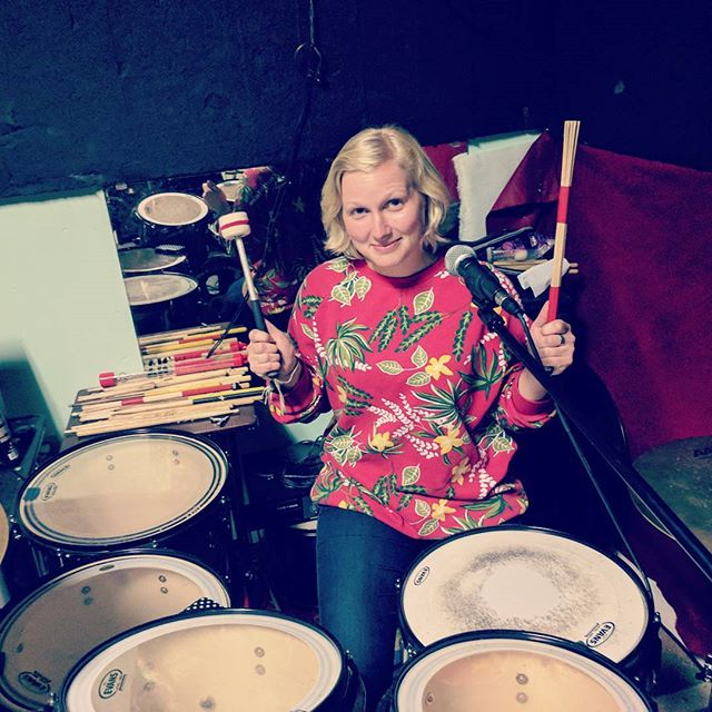 Did y'all know that @photogenicjules will be joining us at our show Thursday (*cough* at the @cornerstoneberkeley with @tracerepeat & @thefellswoop *cough*) Unfortunately she won't be sharing her patented mallet + rute drumming technique, but she WILL be singing some kick ass harmonies!  #rehearsal #drums