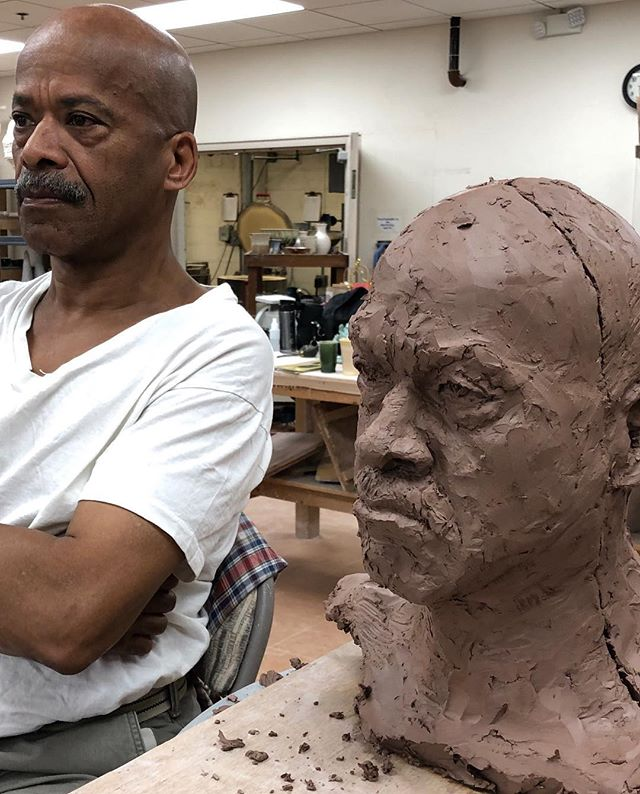 The real David and the clay imitation. Such a great model!!!