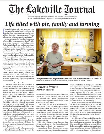 Dottie Jacquier feature in The Lakeville Journal