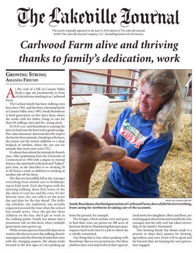 Sandy Boardman feature in The Lakeville Journal