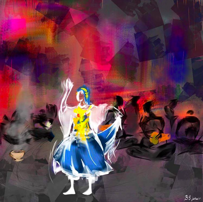 A beautiful painting by Libyan Artist Bodour Jazairi showing the hype or هيصة of a Libyan wedding and the vibrant atmosphere of dancing to the beat of the darbooka.  لوحة جميلة للفنانة الليبية بودور الجزائري تظهر جو أو هيصة الرقص و الدربوكة في العرس الليبي
