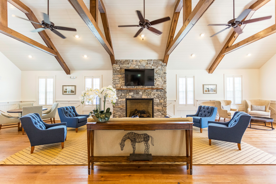 Clubhouse Beams & Stone Fireplace