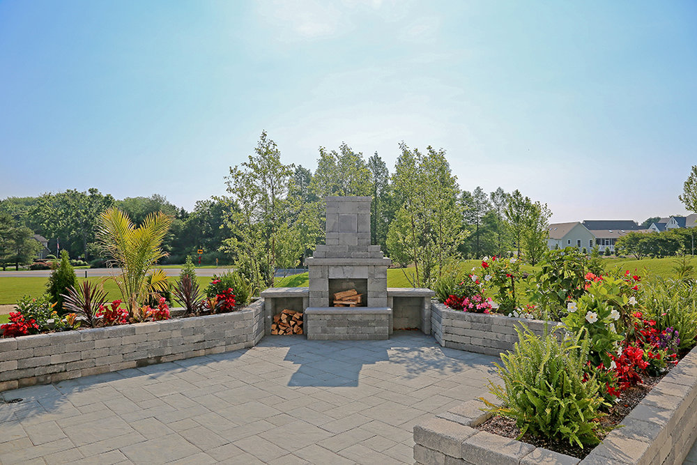 Paver Patio Fireplace Model Home