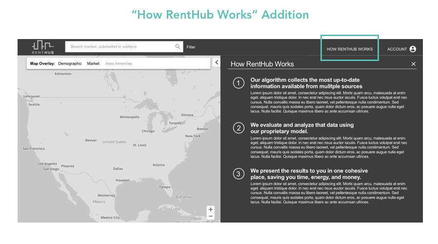 """We added a """"how RentHub works"""" section to give the users clarity into how RentHub sources their data so that RentHub can gain their trust"""