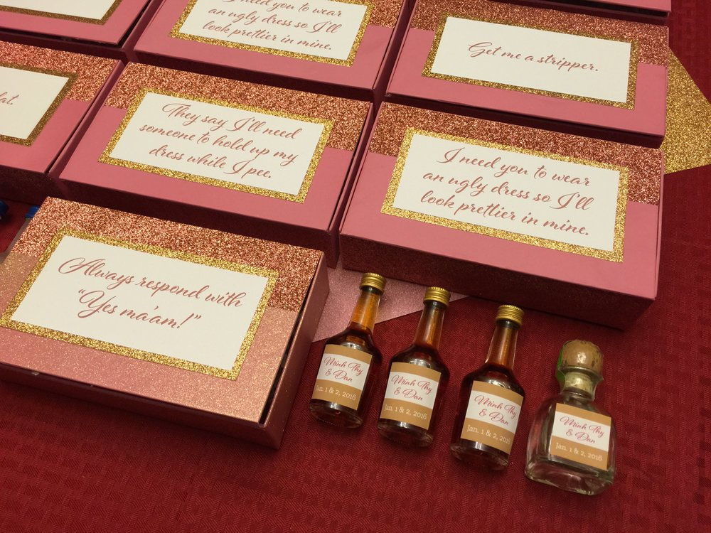 Minh Thys Bridal Party Favors Cheers My Dears