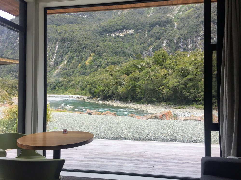 View from our Riverview Chalet at Milford Sound Lodge