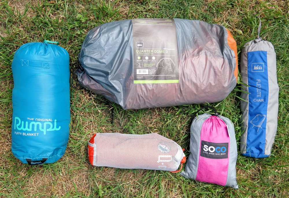 Some of my must have gear for each camping trip. My new Rumpl puffy blanket is amazing for Texas camping; it keeps you warm but isn't as hot as a sleeping bag can be.