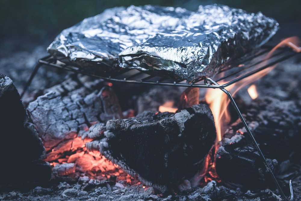 You can also throw the foil packets directly into the fire if you don't have a griddle.
