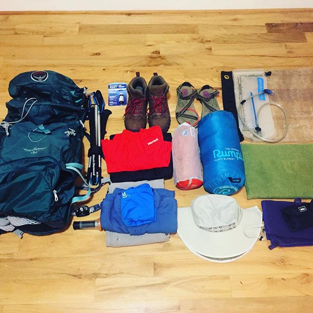 Prepping for our Rim to Rim hike this weekend! Not pictured: the ten tons of food we need for the 3 day, 24 mile hike through the canyon. It's nice to have a hiking buddy to share the load. Stay tuned for photos of our trip. #rimtorim #hiking #backpacking #packing #rumpl #hikingprep #backpackingprep