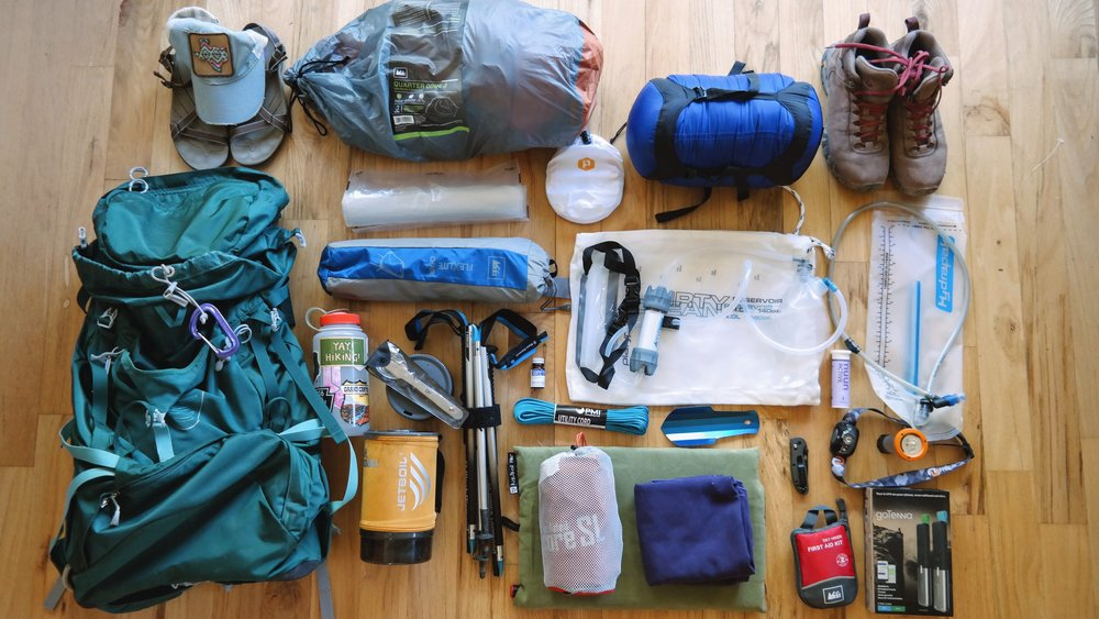Photo of my gear for our backpacking trip in Glacier.. A few items were removed/added after this photo.