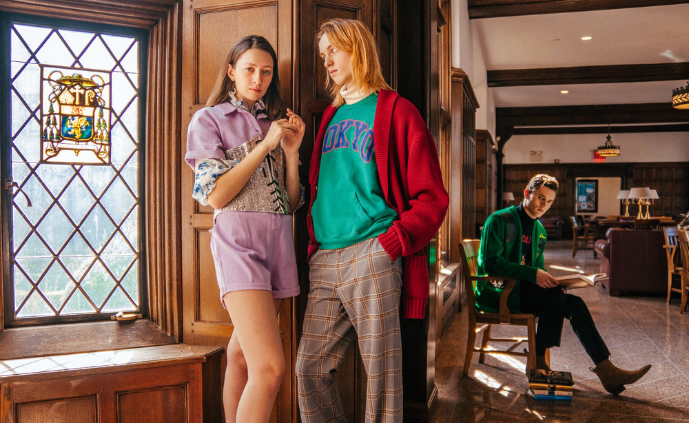 Alex is wearing a multi-colored blouse by   CHELSEA AND WALKER   ($428) and purple romper by   LUSH CLOTHING   ($). Tristan is wearing a green shooting cardigan provided by HAMLET'S VINTAGE.