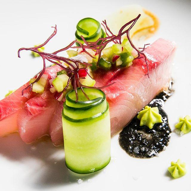 Hamachi! Black Sesame Purée, Whipped Avocado, House-Made Ponzu. #hamachi#oakland#izakaya#bayareaeats #bayarea