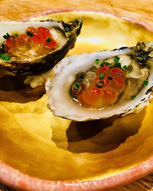 Shigoku oyster, sake gelée, ikura. #izakaya#oakland#oishi_desu