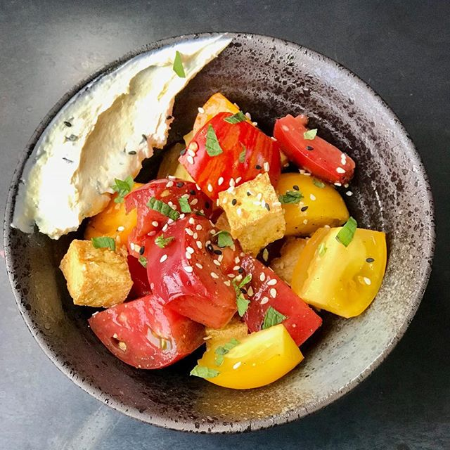 Heirloom tomatoes, hondashi fromage blanc, tofu croutons. #maraquitafarms#eastbayfood#oaklandeats#summertime