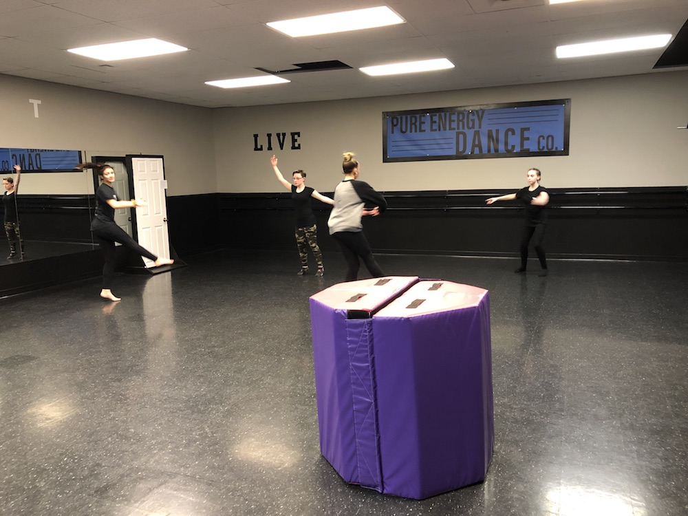 Jessica practicing her routine at Pure Energy Dance Co. with the backup dancers (Gabby, Emma & Sydney)