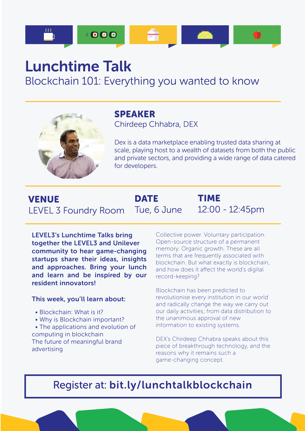 Join us at our Lunchtime Talk series that brings together the LEVEL3 and Unilever community to hear innovative startups share their ideas, insights and approaches. Bring your own lunch and learn with us and be inspired by our resident innovators