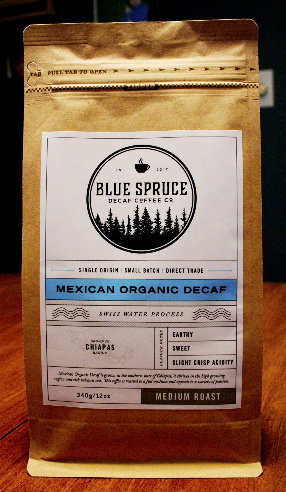 A bag of Blue Spruce Decaf Coffee Co.'s Mexican Organic Decaf coffee.
