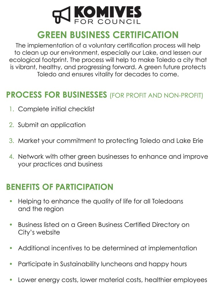 Green Business Certification — Komives for Council