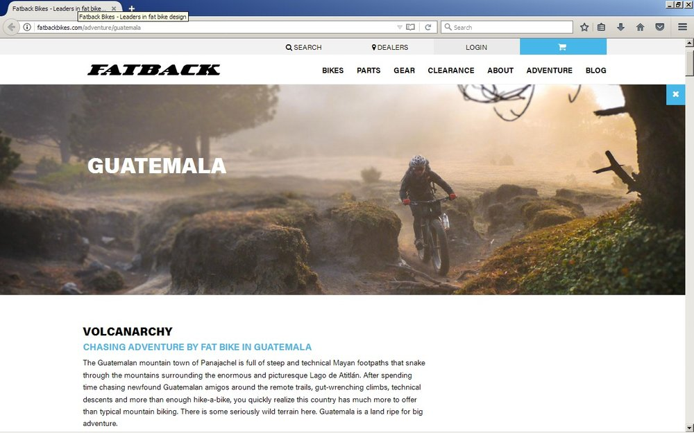 "I wrote a story and my teammate Brendan contributed photographs from our ""Volcanarchy"" expedition to be used for the redesign of the Fatback Bikes website. Check out their ""Adventure"" section to see what is possible on a fat bike!"