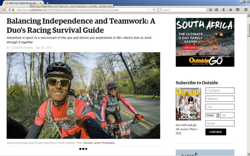 I wrote an article for Outside Online Magazine's Culture section about how to survive an adventure race with a teammate.