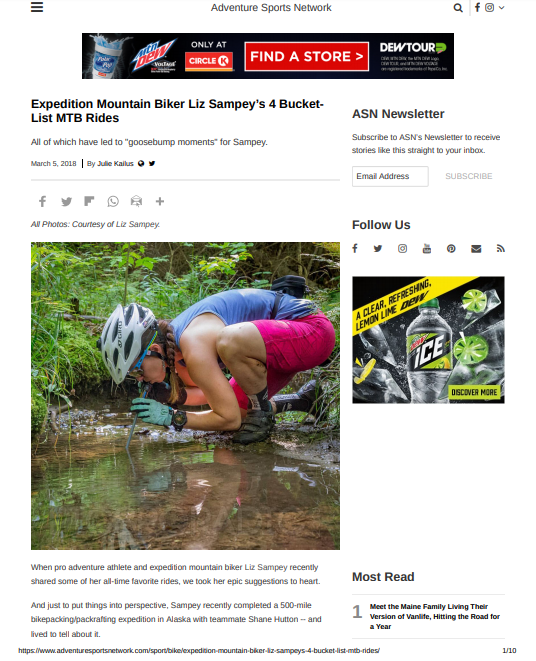 The Adventure Sports Network featured me in an interview about my favorite trail rides around the US. Click on the photo to read the article and find out my prime shredding spots!