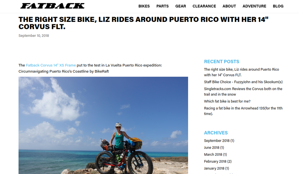 I wrote a blog post for Fatback Bikes' website about my solo exploratory trip around Puerto Rico on board their XS Corvus fatbike and Kokopelli's Hornet Lite packraft. Click the photo to read the article!
