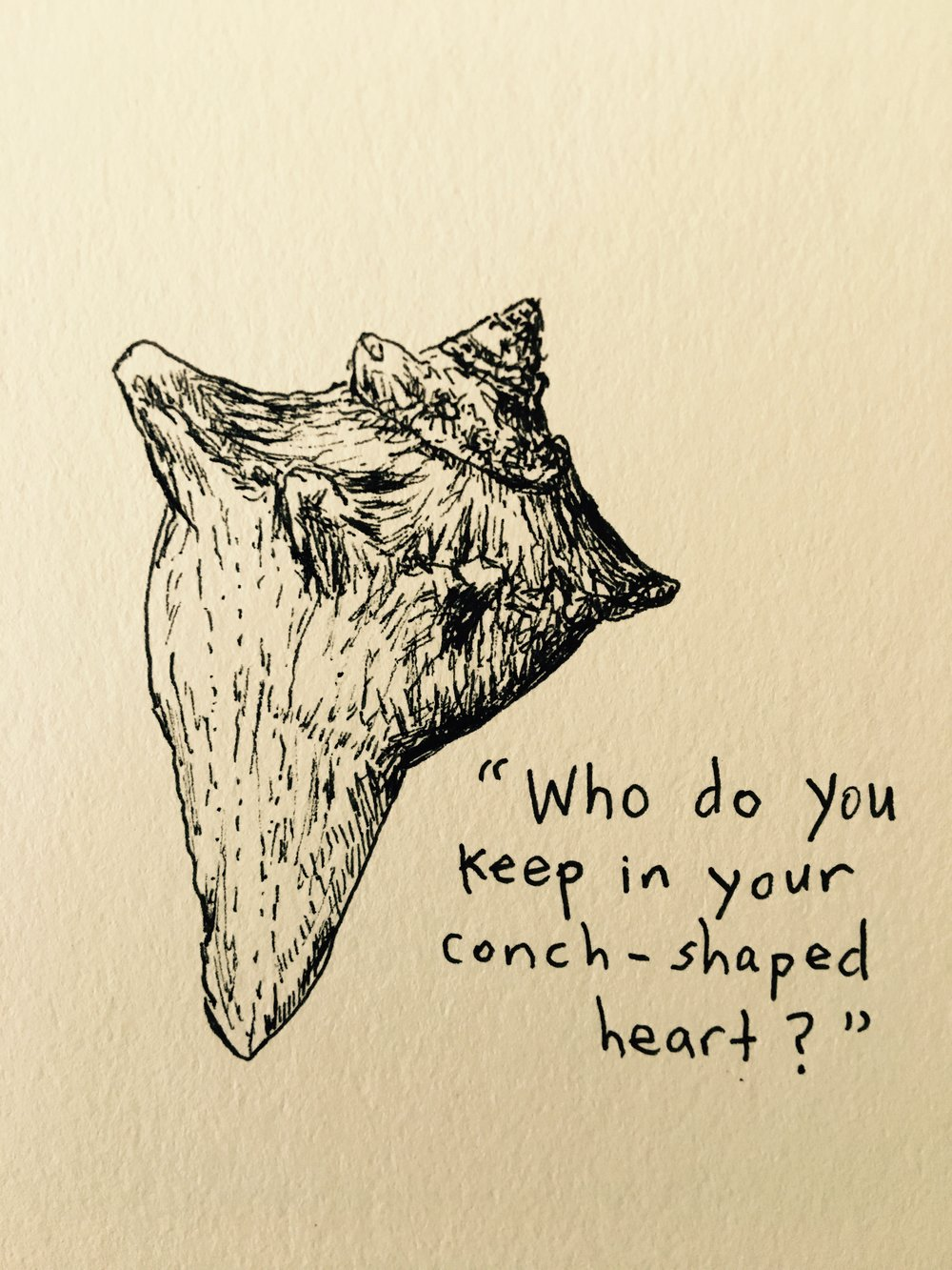 Drawing by Julia Koets with quote from Hover Over Her by Leah Poole Osowski