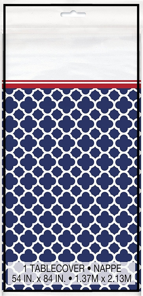 Hamptons Navy Quatrefoil Plastic Tablecloth 84x54.jpg