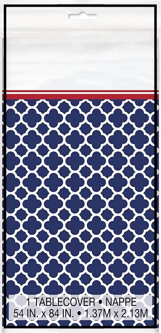 Hamptons Navy Quatrefoil Plastic Tablecloth 84x54.jpg