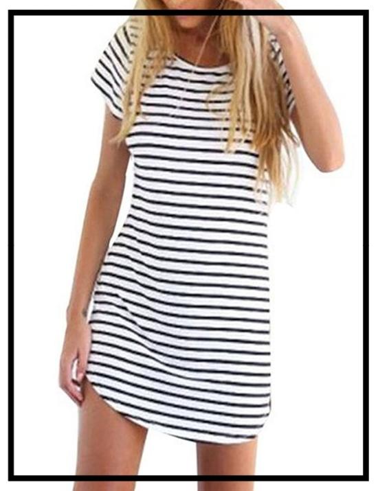 Black & White Striped Short Sleeve Blouse T Shirts Mini Dress -Amazon2.jpg