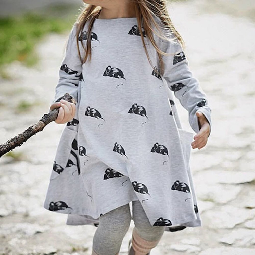 Mousie dress now $34.50! - perfect little girls dress for cool days, 2 - 4 years