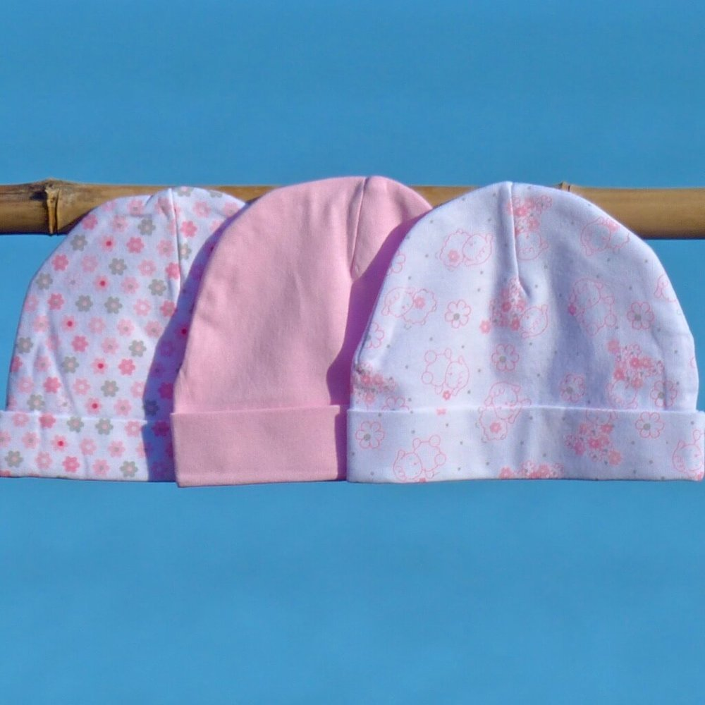 Sale only - $16.80 for set of 3 baby hats - 100% cotton, 100% soft and comfy - 3 baby girl hats
