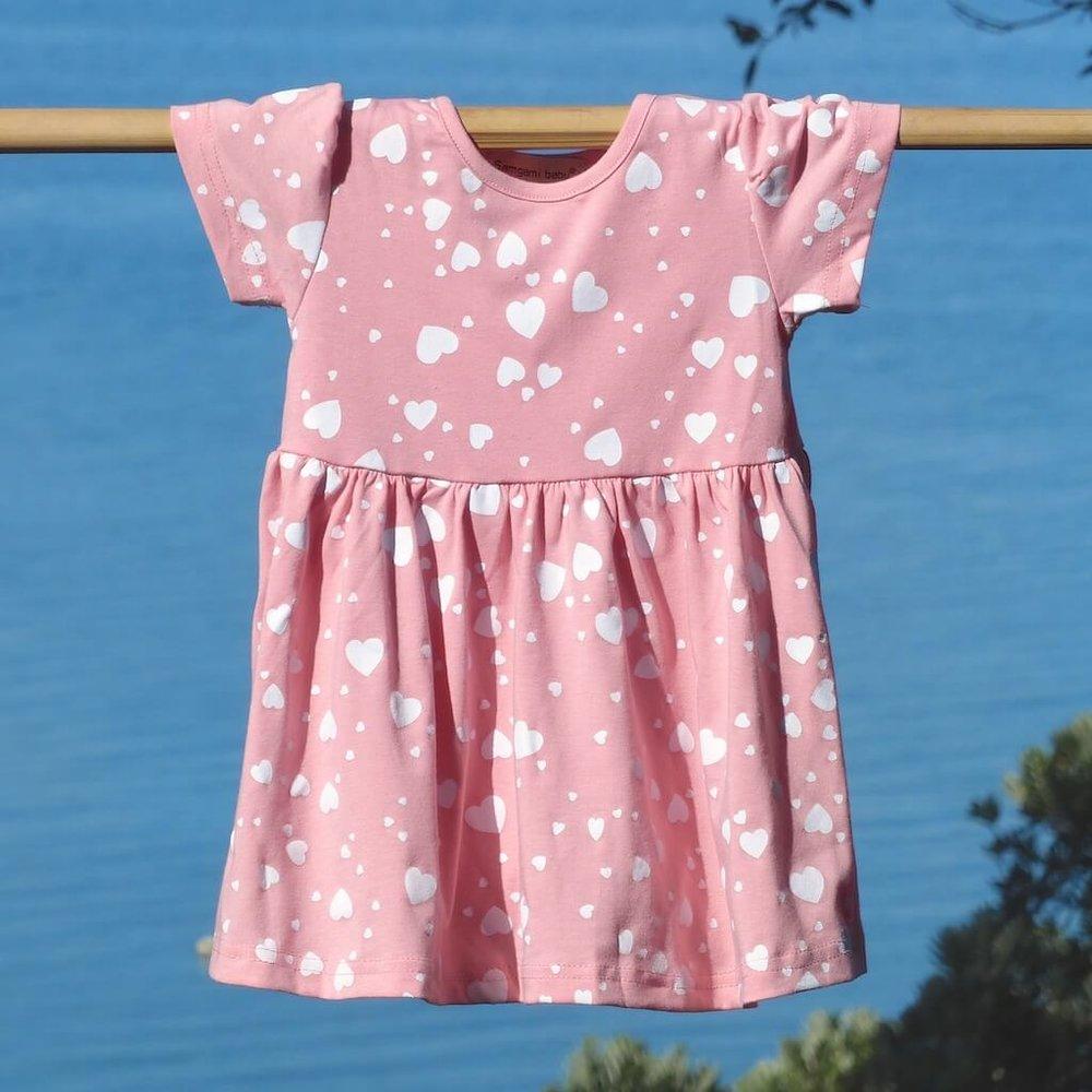 kids clothes pink heart dress