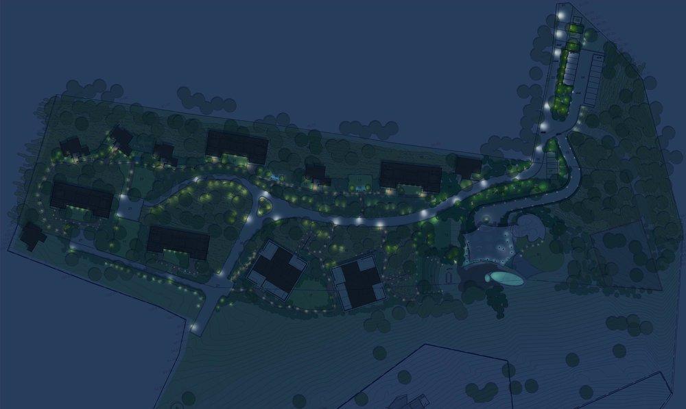 Ficus-landscape-bangalore-java-rain-resort-chikmagalur-masterplan-render-night-lighting