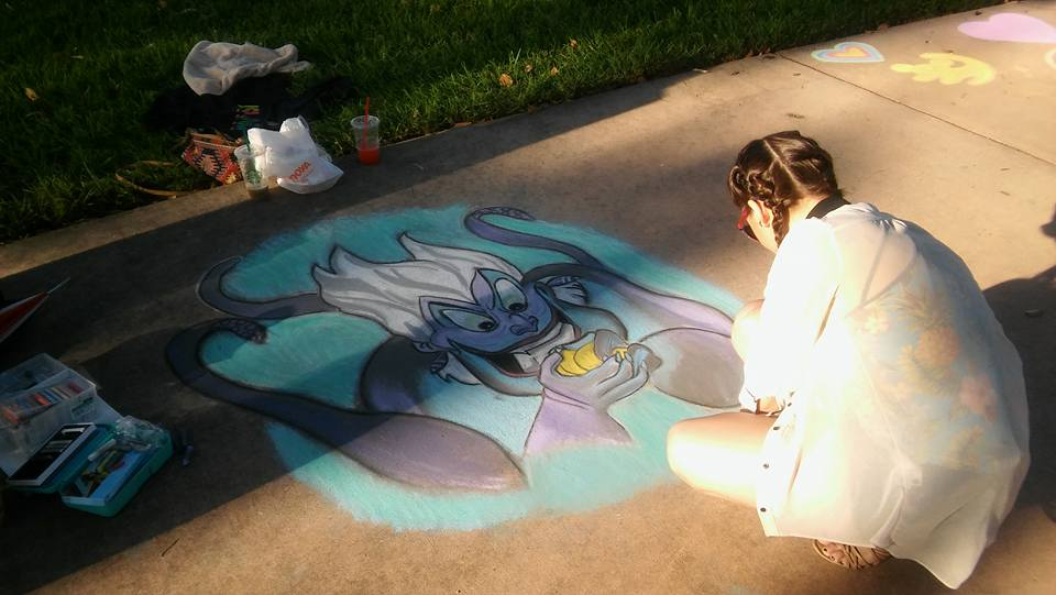 Chalk Artist Nicole Harkins at the Santa Fe Springs Farmer's Market: Art Festival June 22, 2016