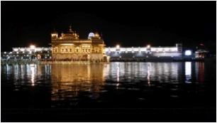 The Golden Temple at night.