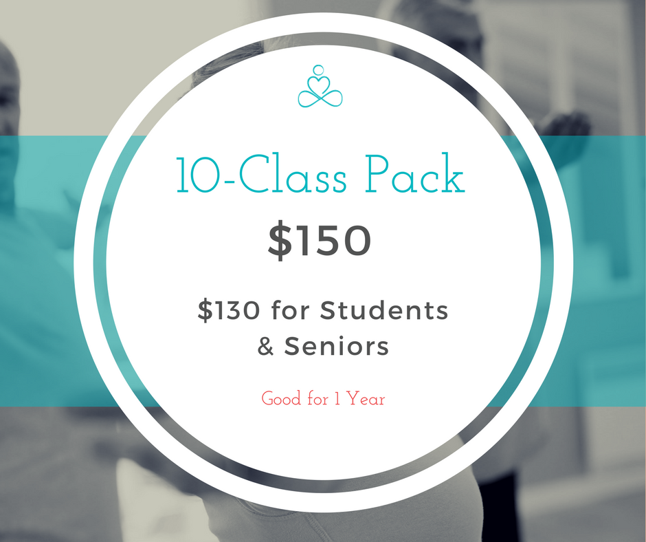 Prefer to keep your relationship with yoga more casual? - We recommend this package if you practice once per week or less.A 10-Class pack gives you the flexibility to practice when you want within a year.Please note: Student & Senior 10-Packs must be purchased in person with valid ID.