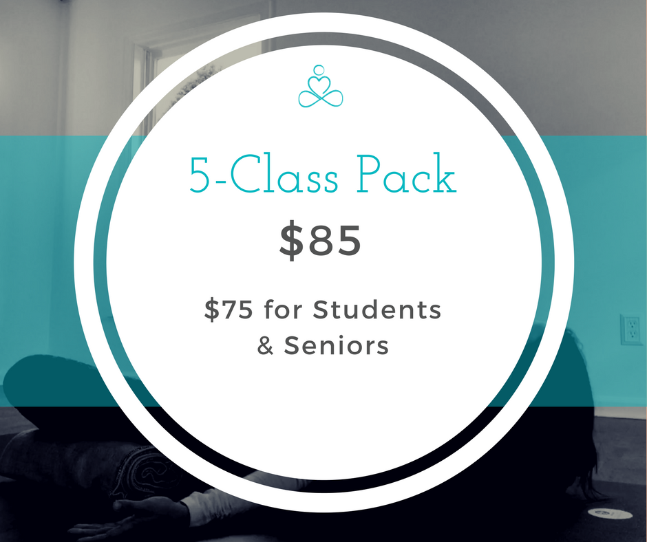 Another great option for the casual yogi. - 5-Class Packs end up costing you a bit more per class, but are still a great savings over our drop in rate. This package is good for 9 months from purchase date.Please note: Student & Senior 10 Packs must be purchased in person with valid ID.
