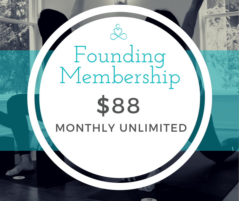 Become a Founding Member - Offer Limited to the first 30 members.Your best deal if you practice 2 or more times a week.- Lock in $20 off our regular rate of $108 for a full year- Attend unlimited classes each month- Bring first-time guests free- Get 10% off workshops and courses- Convenience of monthly auto-payments- Easy cancellation anytime after 3 months- Freeze your membership at any time to keep your low rate.