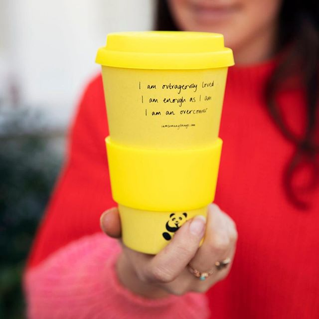 Carrying three of our most powerful #declarations: I am outrageously loved, I am enough as I am, I am an overcomer, our reusable coffee cups are made from sustainably grown bamboo 💛 ˙ CLICK TO SHOP!