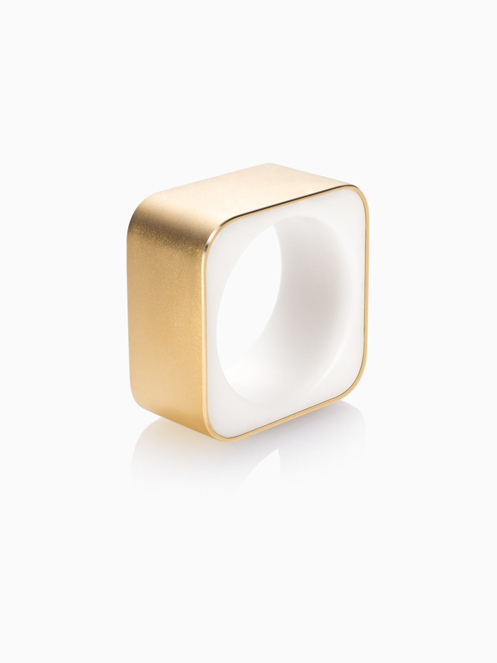 Frames Ring Square Wide Fairtrade Gold — Quite Quiet Jewelry
