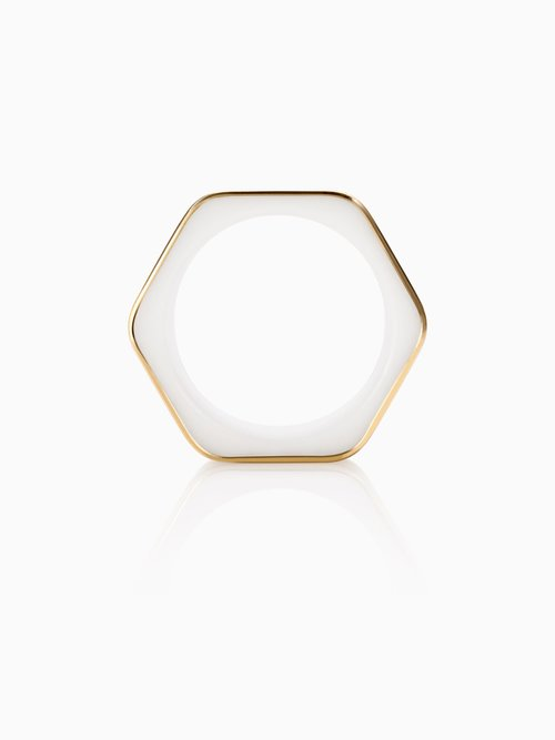Frames Ring Hexagon Wide Fairtrade Gold — Quite Quiet Jewelry