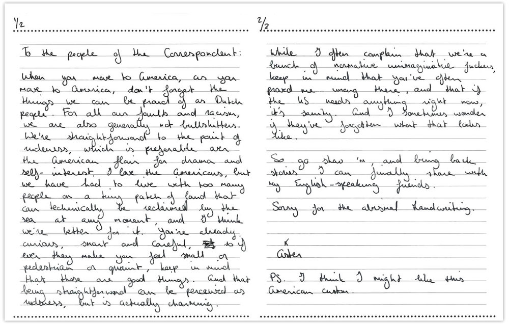 Member Aster Iris Fliers shared her thoughts with De Correspondent in the form of this letter to staff. You can read more about the note-writing research exercise in this post