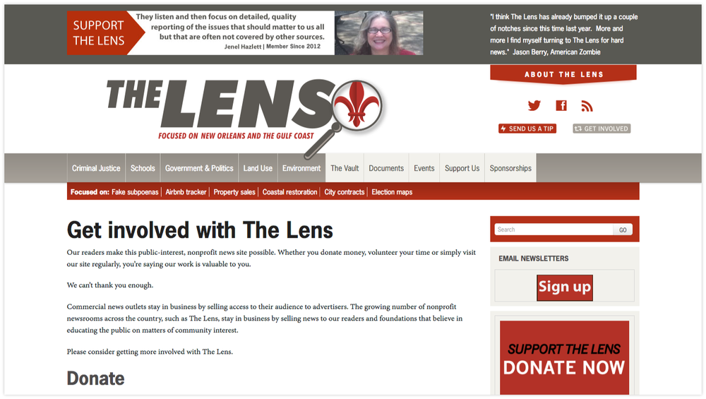 The Lens    asks supporters    to get involved in a variety of ways, beyond contributing financially.